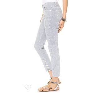 Madewell railroad stripe zip ankle skinny jeans